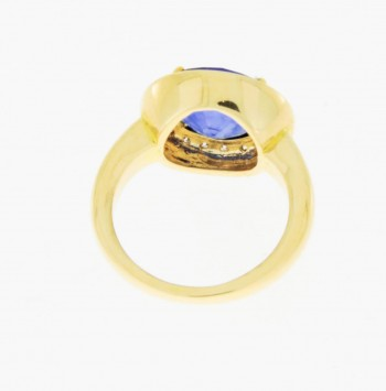 Ring 14 k gold with sapphire + diamonds ca. 0.55 ct.