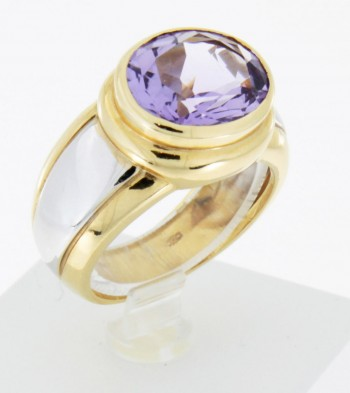 Ring Bicolor 18 k Gold mit Amethyst
