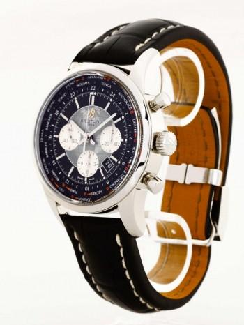 Breitling Transocean Chronograph Unitime Edelstahl an Lederband Ref. AB0510U4
