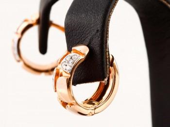 Ohrringe in 14 K Rosegold + Weißgold mit Diamantenbesatz ca. 0,16 ct.