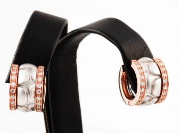 Ohrringe 14 K Weißgold + Rosegold mit Diamanten ca. 0,4 ct.