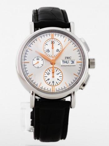 IWC Schaffhausen Portofino Chronograph Edelstahl an Lederband Ref. IW378302