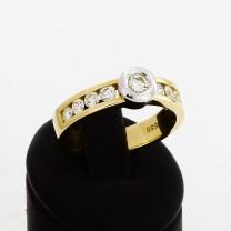 Ring 14 K Gelbgold/Weißgold mit Brillanten mit insgesamt 0,75 ct.