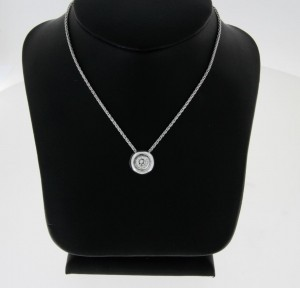 Necklace 18 ct. white gold with round brilliant pendant ca. 0.51 ct.