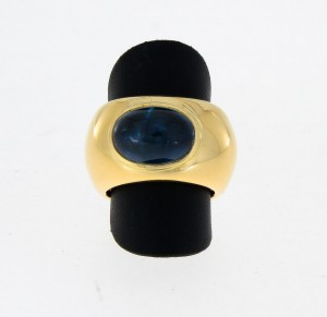 Wide ring in 18 k Gelbgold with tourmaline