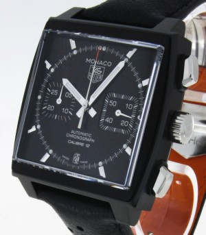 Tag Heuer Monaco Calibre 12 Chronograph automatic steel/titanium on leather strap Ref.CAW211M.FC6324