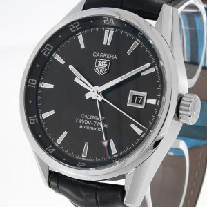 Tag Heuer Carrera Calibre 7 Twin Time Automatik Stahl an Krokolederband Ref.WAR2010.FC6266
