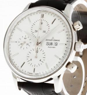 Jacques Lemans Retro Classic Chronograph Stahl an Lederband Ref. N-208A