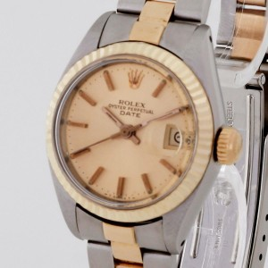 Rolex Oyster Perpetual Date Lady Stahl/Gold an Oysterband Ref. 6917