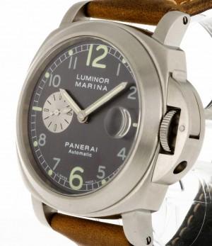 Panerai Luminor Marina Automatik Stahl an Lederband Ref. Pam00086 OP6553