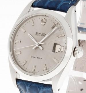 Rolex Oysterdate Precision Handaufzug Stahl an Krokolederband Ref.6694