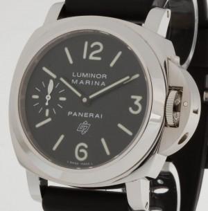 Panerai Luminor Marina Logo Handaufzug Stahl an Lederband Ref.PAM0000 OP6834