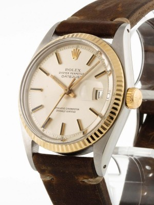 Rolex Oyster Perpetual Datejust Edelstahl/Gold an Lederband Ref. 1601