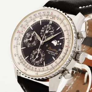 Breitling Montbrilliant with black leather strap Ref. A19030