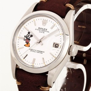 Rolex Oyster Perpetual Date Mickey Mouse und Vintage-Lederband Ref. 1500