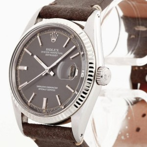 Rolex Oyster Perpetual Datejust Edelstahl an Lederband Ref. 1601