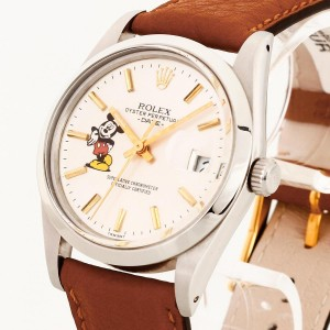 Rolex Oyster Perpetual Date Mickey Mouse und Lederband Ref. 1500