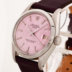 Rolex Oyster Perpetual Date 1978 Stahl an Lederband lila Ref. 1500