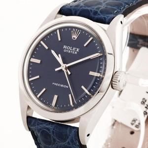 Rolex Oyster Precision Blau Lederband 34mm Ref. 6426