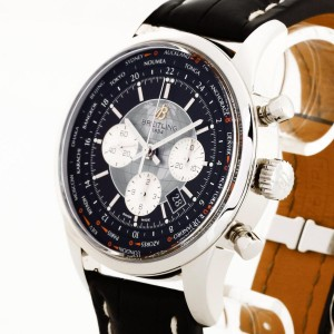 Breitling Transocean Chronograph Unitime stainless steel with leather Ref. AB0510U4