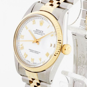 Rolex Oyster Perpetual Datejust 36mm stainless steel/gold with white dial Ref. 16233