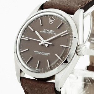 Rolex Oyster Perpetual Edelstahl an Lederband Ref. 1002