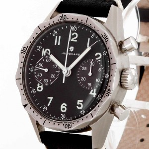 Junghans Flieger-Chronograph Bundeswehr Edelstahl an Lederband Ref. 027/3850