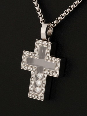 Chopard Happy Diamonds necklace with 18 ct. white gold brilliant cross pendant (2017)