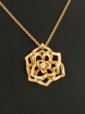 PIAGET 18 ct. gold chain with flower pendant and brilliant new (2017)