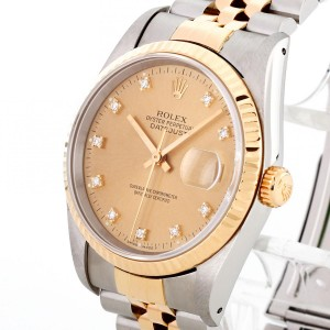 Rolex Oyster Perpetual Datejust 36 Edelstahl/18 K Gelbgold Diamant Ref. 16233