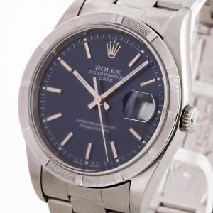 Rolex Oyster Perpetual Date Edelstahl blaues Ziffernblatt Ref. 15210