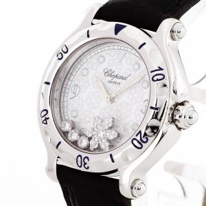 Chopard Happy Sport Diamond Snowflake Edelstahl an Leder Ref. 27/8949