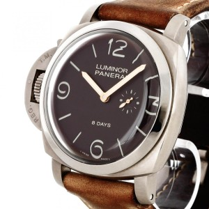 Panerai Luminor 1950 8 Days Titanio Linkshänder Titan an Lederband Ref. PAM00368