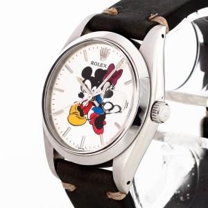 Rolex Oysterdate Precision Minnie & Mickey Mouse Edelstahl an Lederband Ref. 6694
