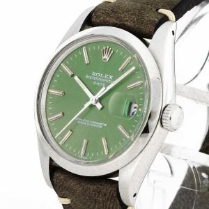 Rolex Oyster Perpetual Date Edelstahl mit grünem Ziffernblatt an Lederband Ref. 1500