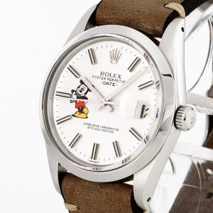 Rolex Oyster Perpetual Date Mickey Mouse 1981 Edelstahl mit Lederband Ref. 1500