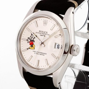 Rolex Oyster Perpetual Date Mickey Mouse 1976 Edelstahl mit Lederband Ref. 1500