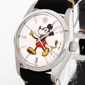 Rolex Oysterdate Precision Mickey Mouse Edelstahl an Lederband Ref. 6694