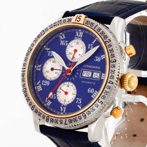 Longines Hour Angle by Lindbergh Chronograph stainless steel with leather strapRef. L2.618.5 Fullset