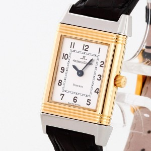 Jaeger-LeCoultre Reverso Lady stainless steel/18 k gold with leather strap Ref. 260.5.86