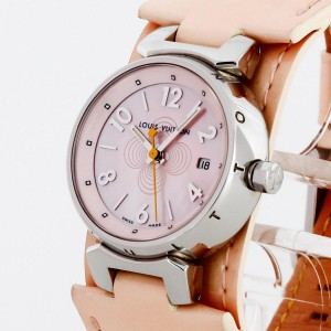 Louis Vuitton Tambour stainless steel with pink leather strap Damenuhr Ref. Q12160