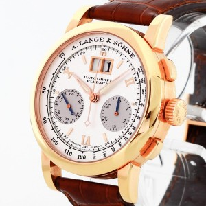 A. Lange & Söhne Datograph Flyback 18 k rosé gold with leather strap Ref. 403.032 Fullset