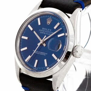 Rolex Oyster Perpetual Datejust 36 Edelstahl an Vintage-Lederband, blaues Ziffernblatt Ref. 1603