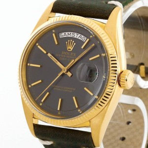 Rolex Oyster Perpetual Day-Date 18 k yellow gold with leather strap Ref. 1803