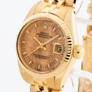 Rolex Oyster Perpetual Lady Datejust Holzblatt 18 K Gelbgold Ref. 6917