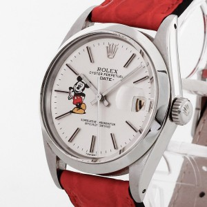 Rolex Oyster Perpetual Date Mickey Mouse 1972 Edelstahl mit Lederband Ref. 1500