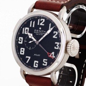 Zenith Pilot Montre D'Aéronef Type 20 GMT stainless steel with leather Ref. 03.2430.693/21.C723