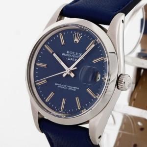 Rolex Oyster Perpetual Date Edelstahl an Lederband blau Ref. 15000