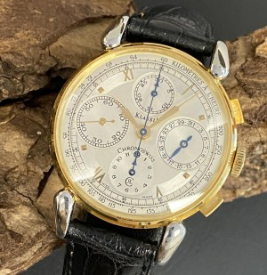 Chronoswiss Klassic Chronograph stainless steel/gold with croco leather strap Ref. CH7442