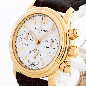 Blancpain Leman Chronograph gold with leather strap Ref. 2185-1418-53